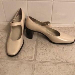 Franco Sarto Cream Mary Jane Heels